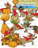 Clip Art: Autumn Fall Dachshund Dogs by HeatherSArtwork