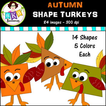 Clip Art ● Autumn Shapes Turkey Pack ● Digital Images ● Products for TpT Sellers