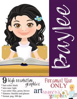 Clip Art - BAYLEE - female, girl, student, digital graphic