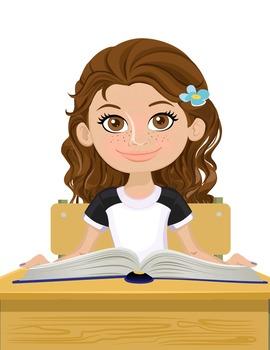 Clip Art - BAYLEE - female, girl, student, digital graphics - school book