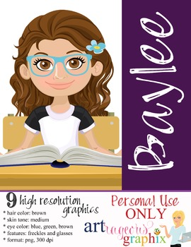 Clip Art - BAYLEE - female, girl, student, digital graphic