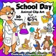 Clip Art BUNDLE:  Animals at School and Kids in the Classroom