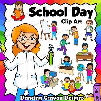 School Clip Art BUNDLE:  Animals at School and Kids in the Classroom
