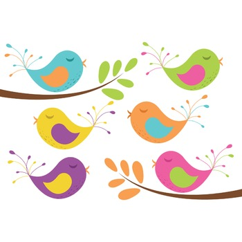 Clipart - Baby Birds and Tree Branches
