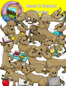 Clip Art: Back 2 School Doxie Dachshund Dogs
