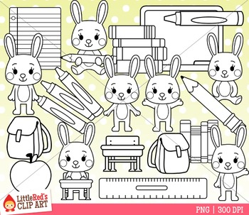 Bunny School Clipart