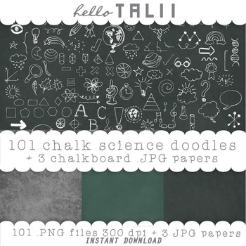 Clip Art: Back to School Chalk Doodles + 3 chalkboard digital papers