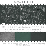 Clip Art: Back to School Chalk Doodles + 3 chalkboard digi