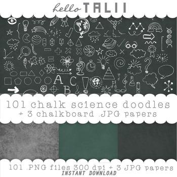Clip Art: Back to School Chalk Doodles + 3 chalkboard digi