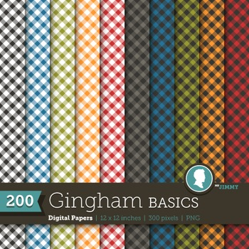 Clip Art: Backgrounds Gingham Basics 200 Digital Paper Patterns