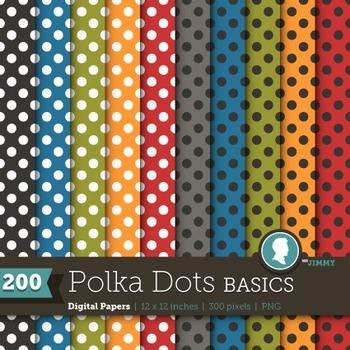 Clip Art: Backgrounds Polka Dot Basics 200 Digital Paper Patterns