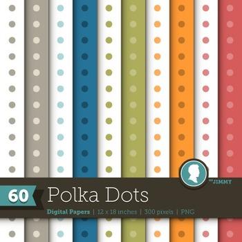 Clip Art: Backgrounds Polka Dot 60 Digital Paper Patterns