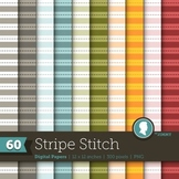 Clip Art: Backgrounds Stripe Stitch 60 Digital Paper Patterns