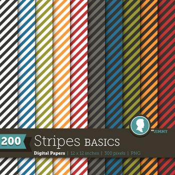 Clip Art: Backgrounds Stripes Basics 200 Digital Paper Patterns