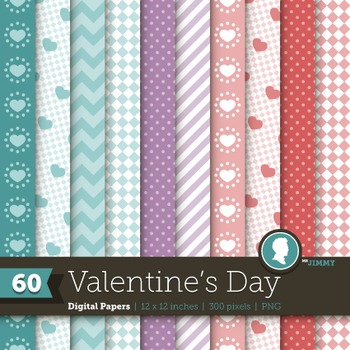Clip Art: Backgrounds Valentine's Day 60 Digital Paper Patterns
