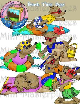 Clip Art: Beach Dachshund Dogs