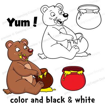 Clip Art Bear with Honey Pots