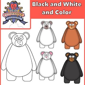 Clip Art Bears (Polar, Chubby, Black, Brown, Funny)