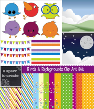 Clip Art: Birds and Backgrounds for Commercial Use