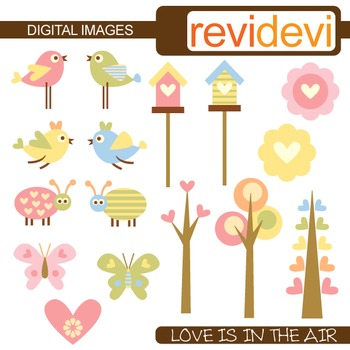 Clip Art: Birds, bird house, trees (nature themed clipart)