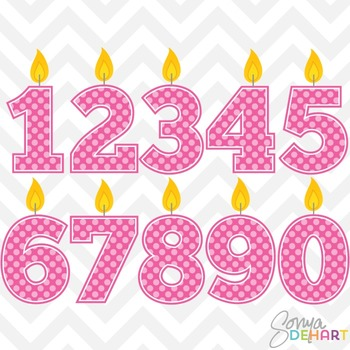 Clipart - Birthday Candle Numbers Pink Clipart