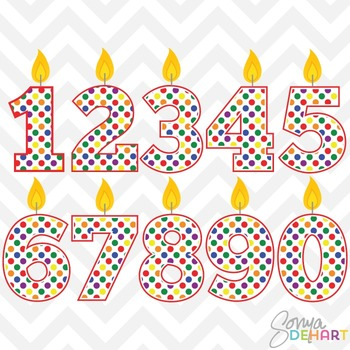 Clipart - Birthday Candle Numbers Rainbow