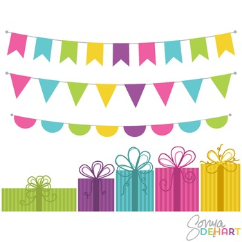 Clipart - Birthday Presents and Flag Bunting Set
