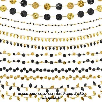 Black and Gold Glitter String Lights