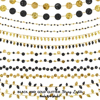 Black and Gold Glitter String Lights