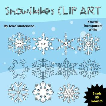 Winter Snowflakes Clip Art for Commercial Use|Kawaii,white, transparent image
