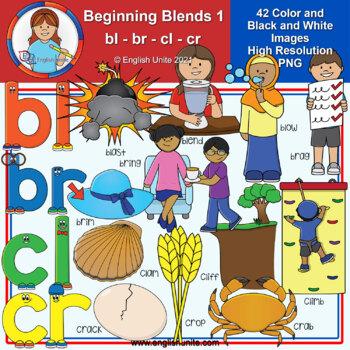 Clip Art - Beginning Blends 1 (bl/br/cl/cr)