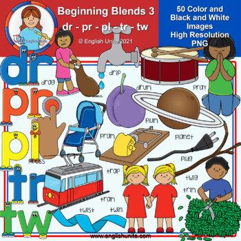 Clip Art - Beginning Blends 3 (dr/pr/pl/tr/tw)