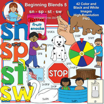 Clip Art - Beginning Blends 5 (sn/sp/st/sw)