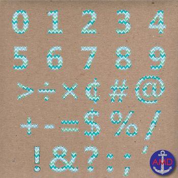 Clip Art: Blue Chevron Stitched Alphabet & Numbers Clip Art Set (Letter Tiles)