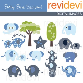 Clip Art: Blue Elephants (circus) clipart