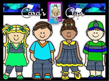 Clip Art~ Blue Jean Babes  (Kids Clip Art)