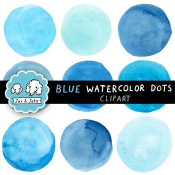 Clip Art: Blue Watercolor Dots / Circles for Personal and Commercial Use