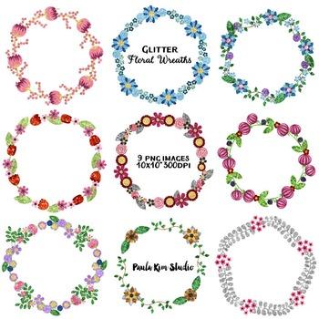 Clip Art Borders - Glitter Floral Wreaths
