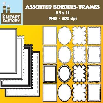Clip Art: Borders and Frames - 16 Fun decorative page borders 8.5x11