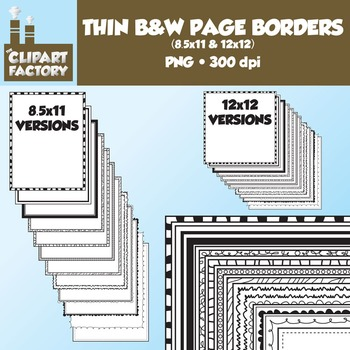 Clip Art: Borders and Frames - 24 Fun decorative page borders 8.5x11 & 12x12
