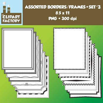 Clip Art: Borders and Frames-Set 3 - 16 Fun decorative page borders 8.5x11