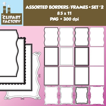 Clip Art: Borders and Frames-Set 2 - 16 Fun decorative page borders 8.5x11