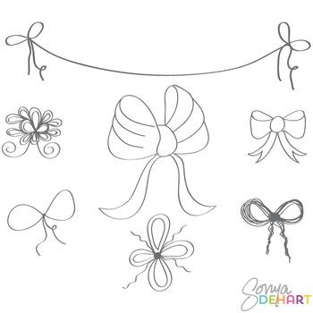 Clipart - Line Art Doodle Bows FREEBIE