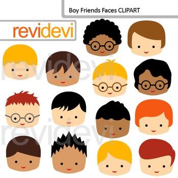 Clip Art Boy Friends Faces (friends, classmates clipart)