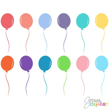 Clipart - Bright Party Balloons