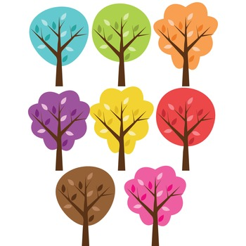 Clipart - Colorful Trees with Leaves