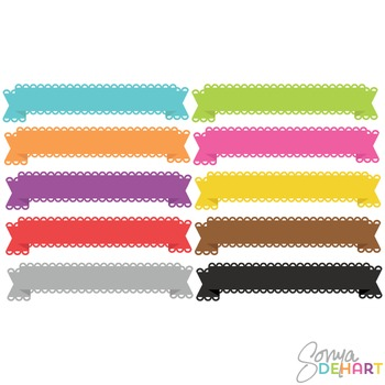 Clipart - Lace Banner Ribbons Set
