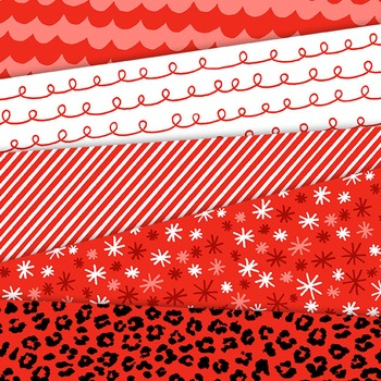 Clip Art: Bright Red Digital Papers for Personal and Commercial Use