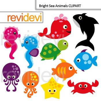 Clip Art Bright Sea Animals