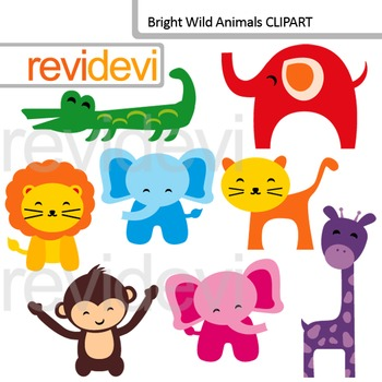 Clip Art Bright Wild Animals